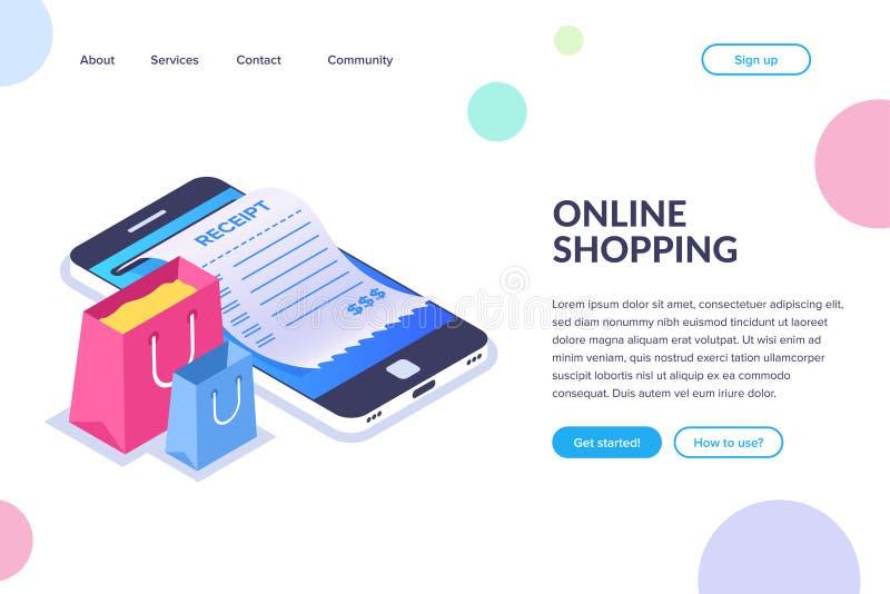 On-line-Einkaufsisometrisches Konzept Einkaufstaschen auf dem Hintergrund eines Handys Empfang auf dem Smartphoneschirm lizenzfreie abbildung