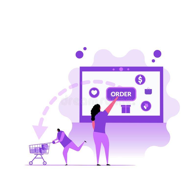 On-line-Einkaufskonzept des Auftrages mit Charakter Flache Illustration lizenzfreie abbildung