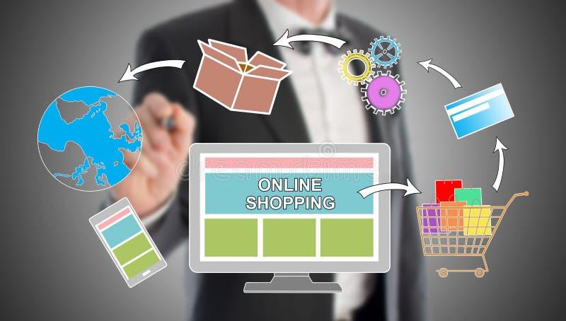 On-line-Einkaufskonzept gezeichnet von einem Geschäftsmann lizenzfreie abbildung