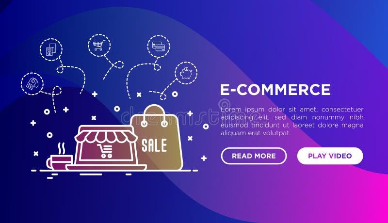 On-line-Einkaufskonzept mit dünner Linie Ikonen stock abbildung