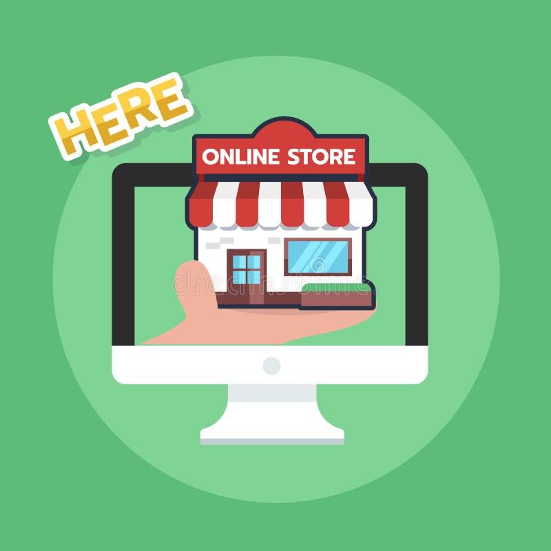 On-line-Einkaufskonzepthandholdingspeicher-Ikonendesign mit Kartenanwendungshintergrund auf Bildschirm stock abbildung