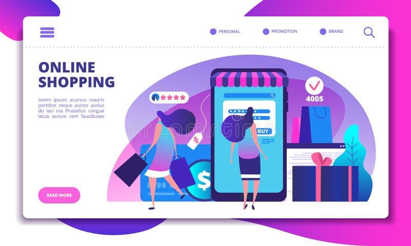 On-line-Einkaufslandungs-Seite Leute mit dem Smartphone, der Internet-Zahlung im on-line-Speicher tut Website- oder Appvektor lizenzfreie abbildung