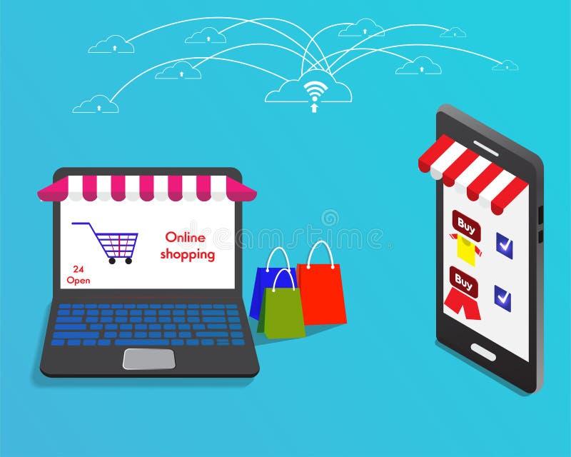 On-line-Einkaufsspeicher mit Laptop schließen an intelligentes Telefon durch Internet an lizenzfreie stockfotos