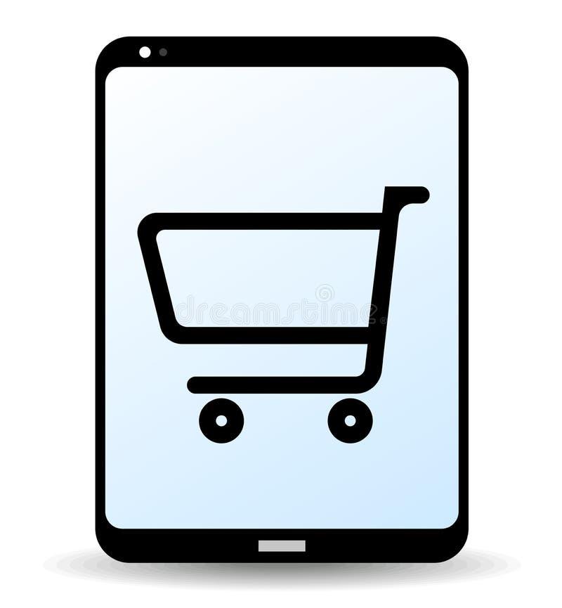 On-line-Einkaufssymbol oder Ikone mit Einkaufswagen auf Tablet-Computer-Schirm lizenzfreie abbildung