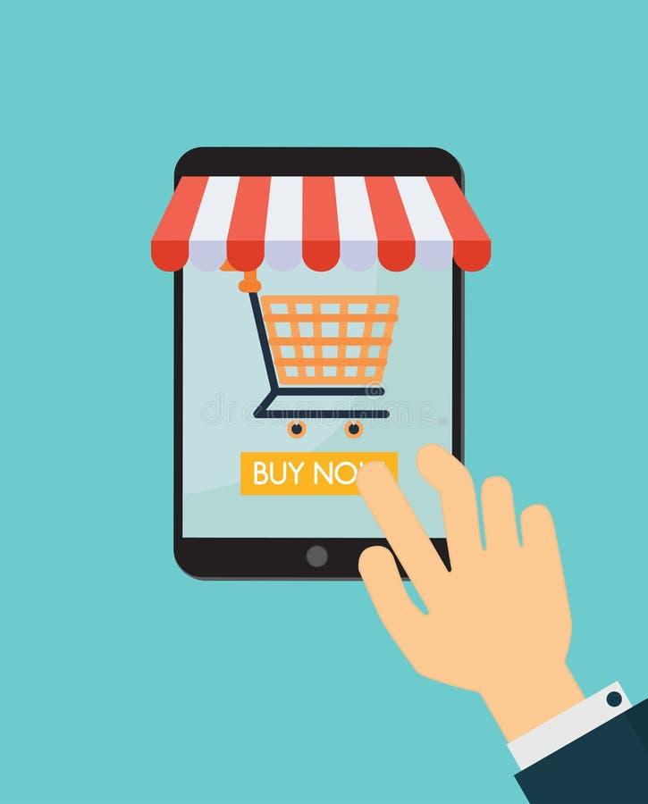 On-line-Einkaufstablette mit Warenkorb Auch im corel abgehobenen Betrag lizenzfreie abbildung