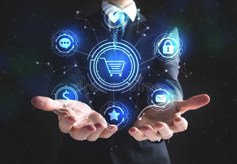 On-line-Einkaufsthema mit Geschäftsmann stock abbildung