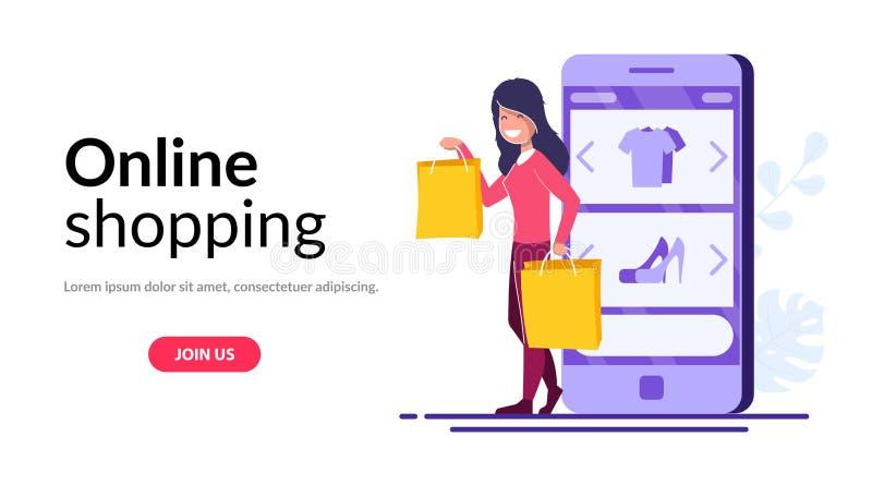 On-line-Einkaufsvektorkonzept Junges M?dchen mit Paketen steht auf dem Hintergrund eines Handys mit einem offenen Online-Shop stock abbildung