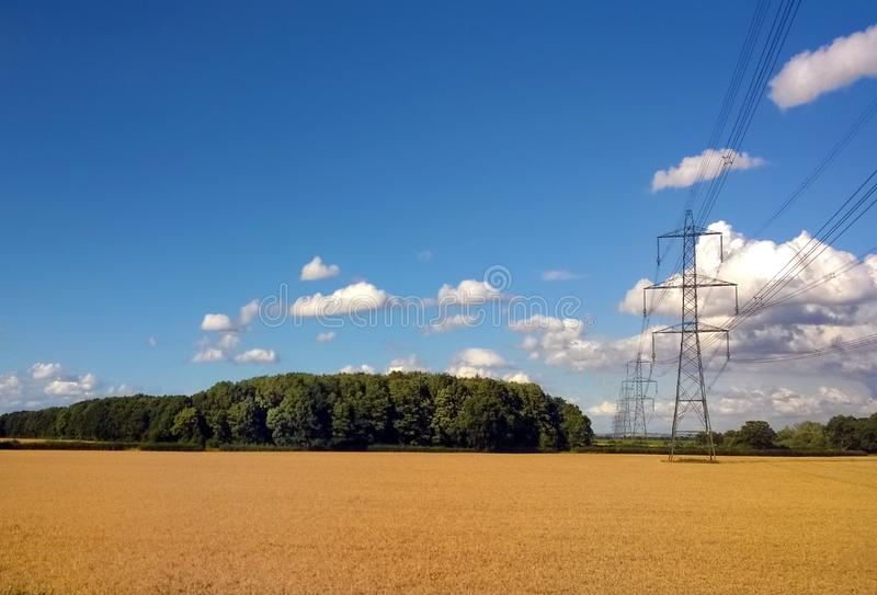 Line of electricity pylons running though summer fields with trees and blue cloudy sunlit sky. A line of electricity pylons running though summer fields with stock image