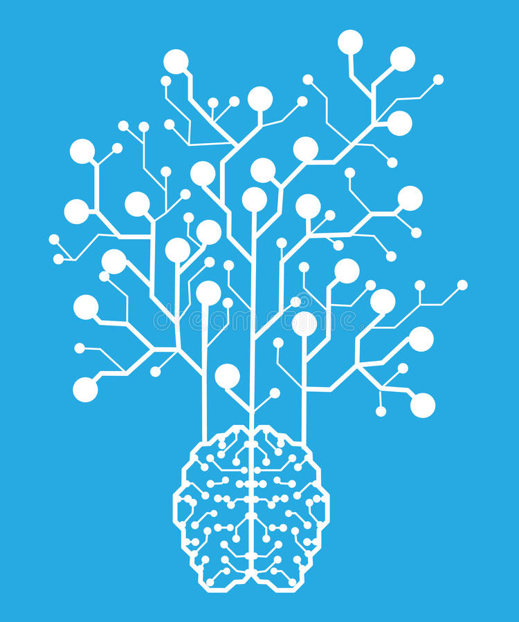 Line electronic brain . Artificial intelligence vector illustration