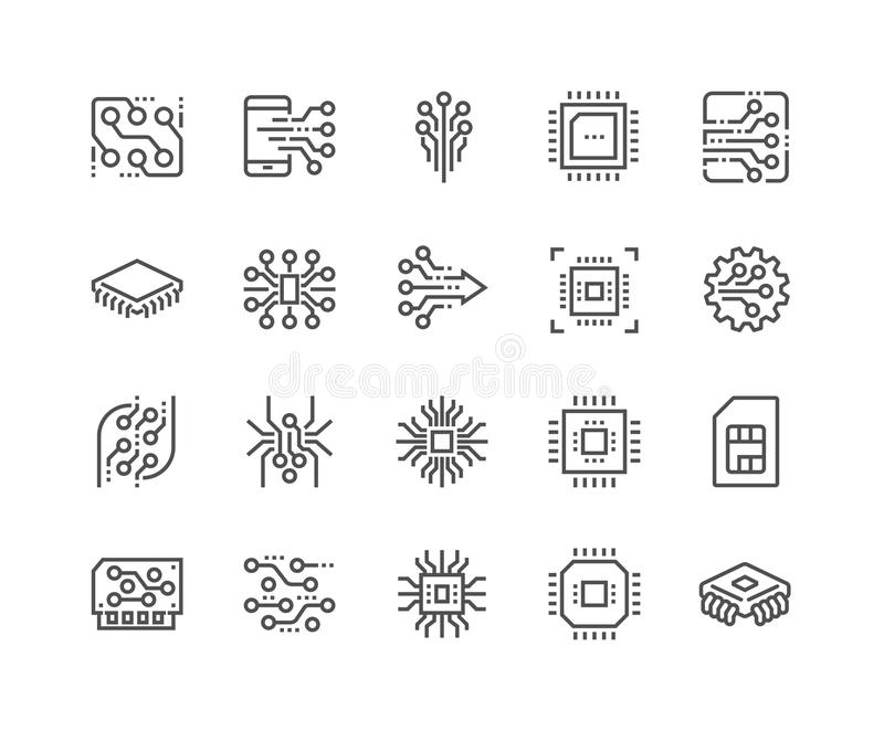 Line Electronics Icons. Simple Set of Abstract Electronics Related Vector Line Icons. Contains such Icons as Spider Bot, Chip, Circuit, Abstract Electronic vector illustration