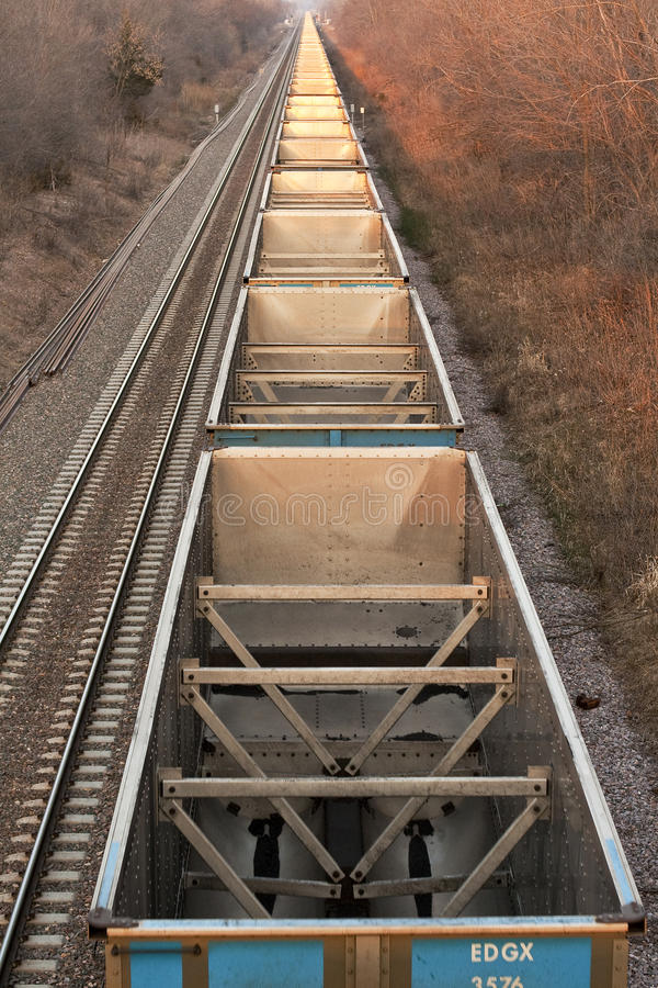 Line of Empty coal cars from Above royalty free stock photography