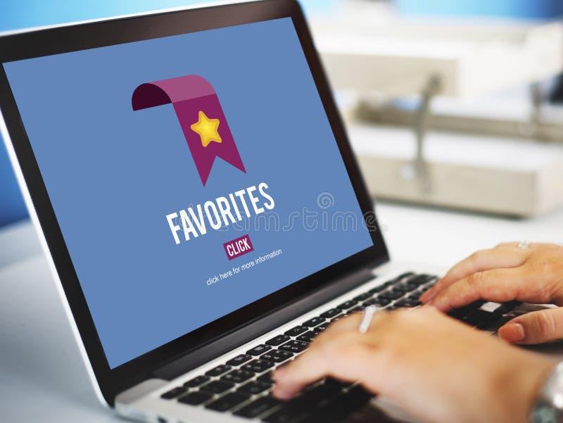 On-line-Favorit-Internet-Bookmark-Technologie-Konzept lizenzfreie stockfotografie