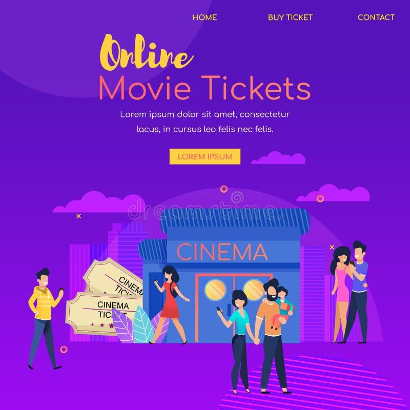 On-line-Film-Karte Festival-Kino-Werbung vektor abbildung