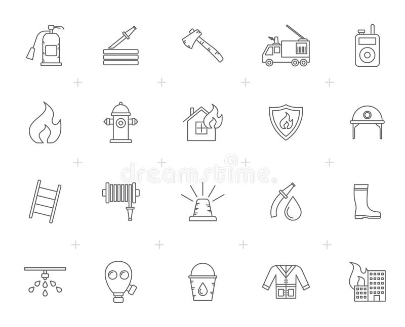 Line firefighter and fire brigade icons royalty free illustration