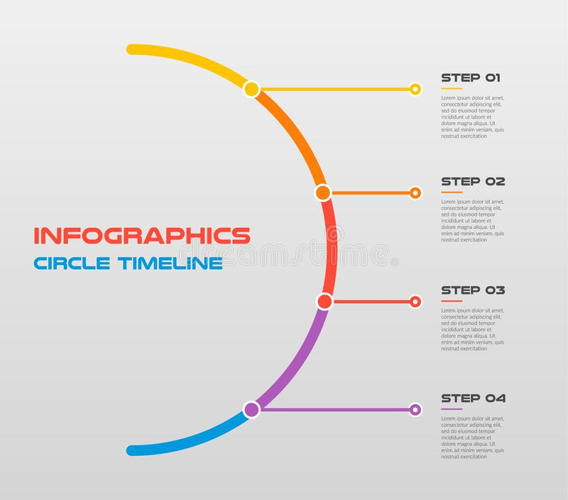 Line flat circle for infographic. Template for cycle diagram, graph, presentation.. Business concept with 4 options royalty free illustration