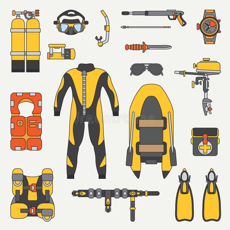 Line flat color vector diver underwater equipment icon set. Retro. Cartoon style. Ocean, sea beach. Snorkeling. Summer vector illustration