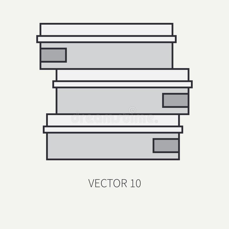 Line flat color vector icon elements of filmmaking and multimedia 35mm film bobbin. Cartoon style. Cinema. Vector stock illustration