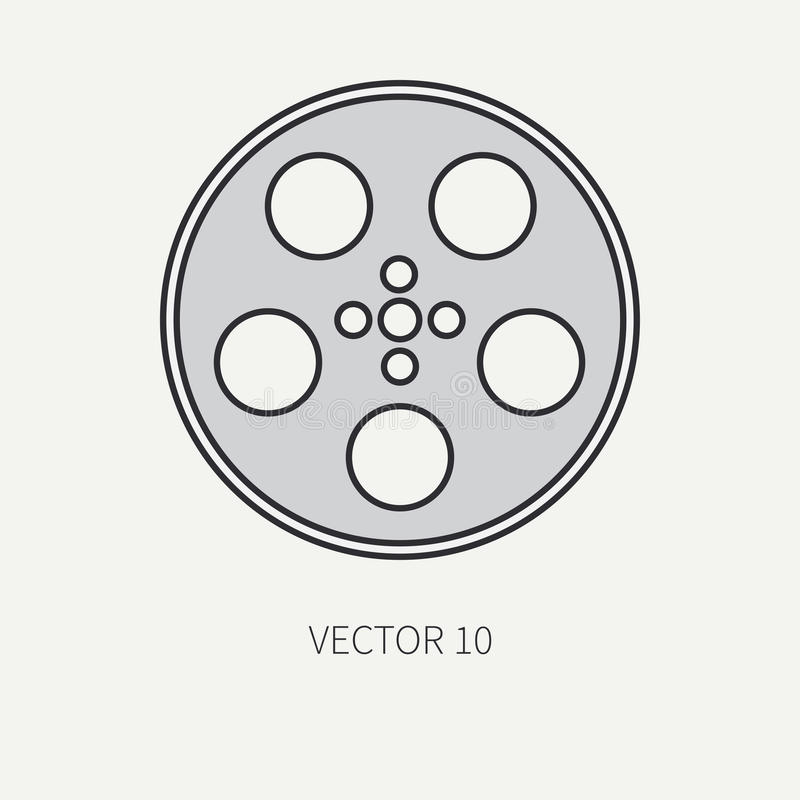 Line flat color vector icon elements of filmmaking and multimedia - 35mm film bobbin. Cartoon style. Cinema. Vector royalty free illustration