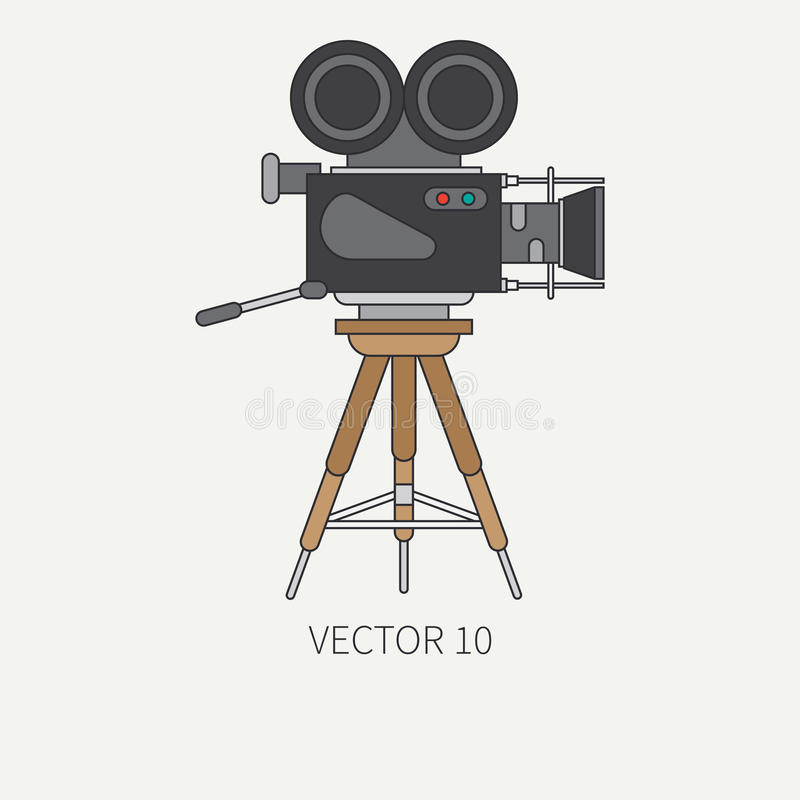 Line flat color vector icon elements of filmmaking and multimedia - 35mm film camera. Cartoon style. Cinema. Vector stock illustration