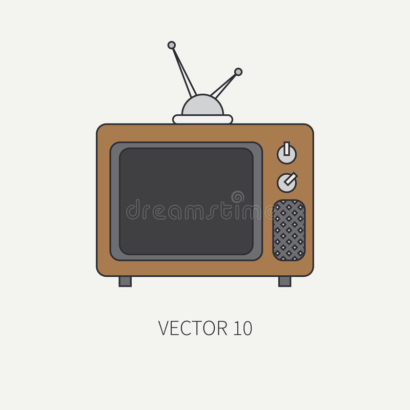 Line flat color vector icon elements of filmmaking and multimedia - old analog tv. Cartoon style. Cinema. Vector stock illustration