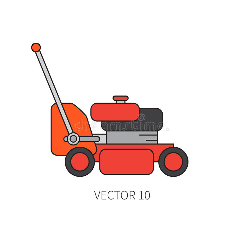 Line flat color vector icon garden tool - lawn mower. Cartoon style. Vector illustration and element for your design and royalty free illustration