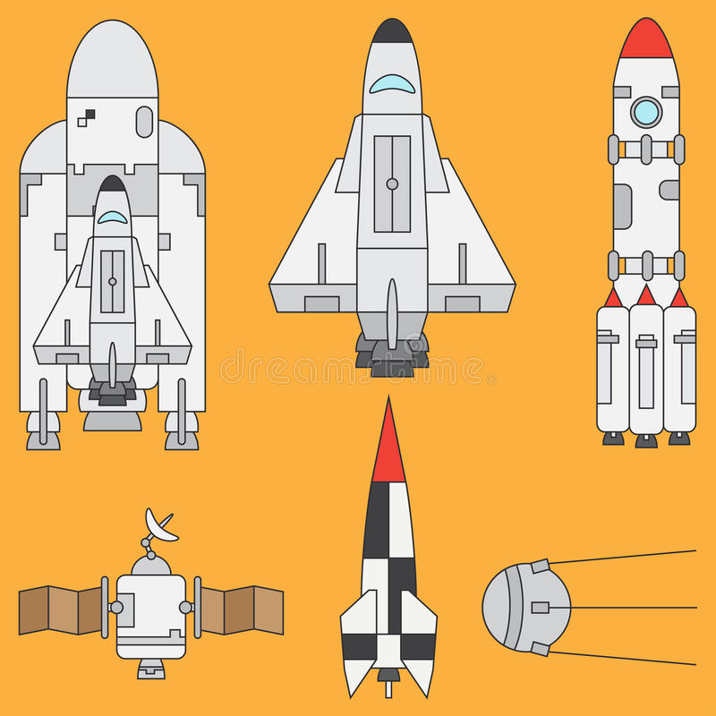 Line flat color vector icon set elements of aerospace program - rocket, satellites, space shuttle. Cartoon style stock illustration