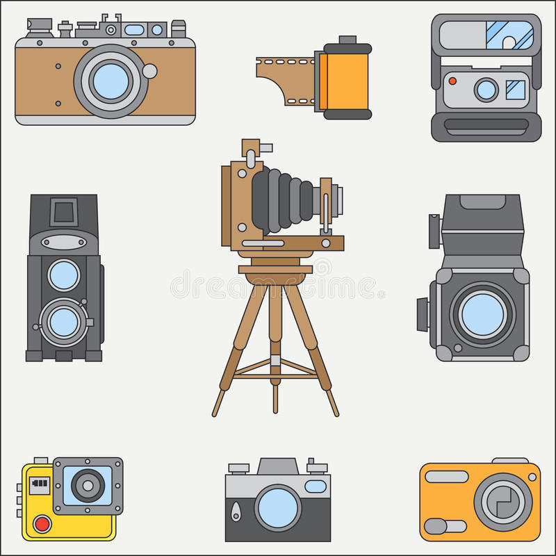 Line flat color vector icon set with retro analog film cameras. Photography and art. Reflex 35mm photocamera. Cartoon royalty free illustration