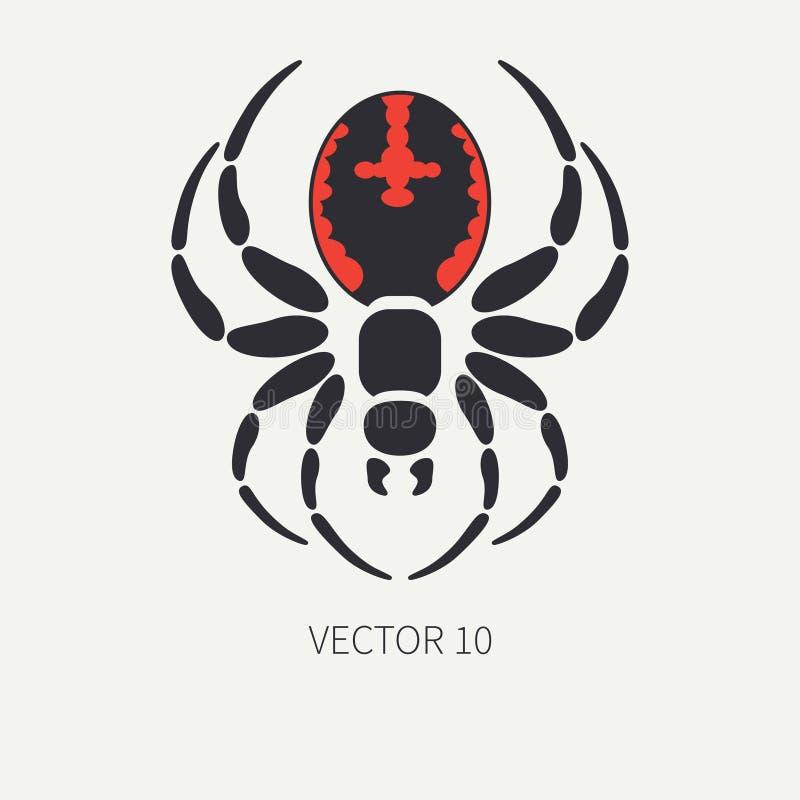 Line Flat Color Vector Wildlife Fauna Icon Black Widow