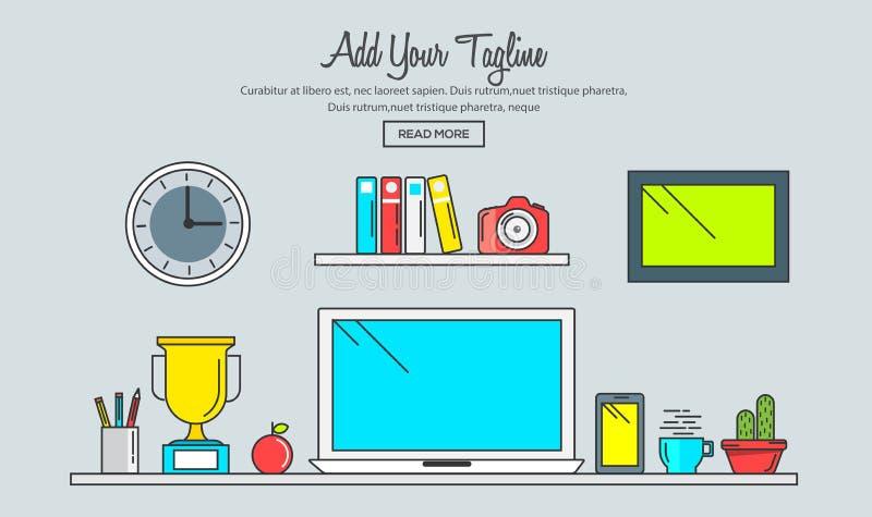 Line flat design of creative designer workspace. Modern office desk with laptop. Modern vector illustration concept vector illustration