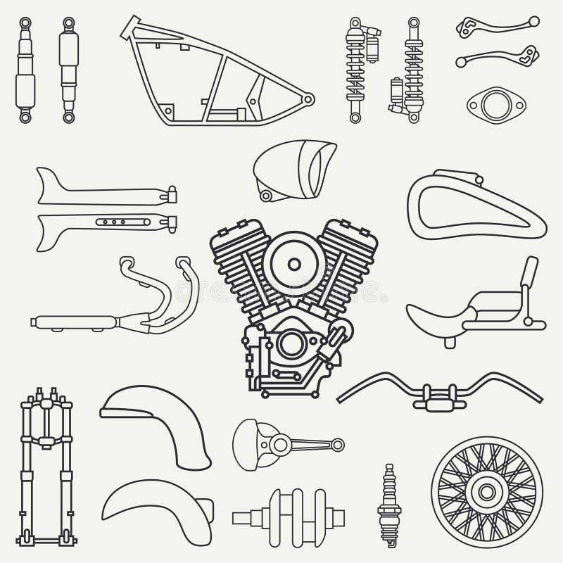 Line flat plain vector motorcycle icon classic bike repair set. Retro. Cartoon style. Biker motoclub. Gasoline engine vector illustration
