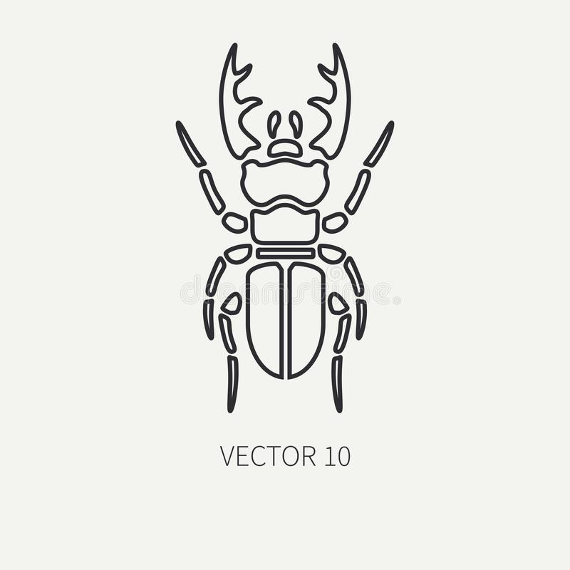 Free Line Flat Plain Vector Wildlife Fauna Icon Stag Beetle. Simplified Retro. Cartoon Style. Insect. Deer Bug. Entomology Stock Photography - 103350002
