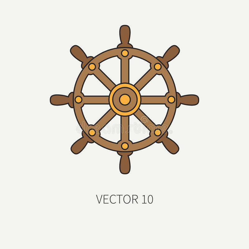 Line flat vector color marine icon with nautical design elements - steering wheel. Cartoon style. Illustration and vector illustration