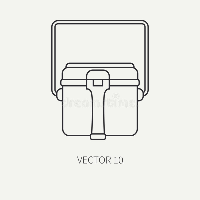 Line flat vector hunt and camping icon - kettle. Hunter equipment, armament. Retro cartoon style. Wildlife travel. Camouflage. Forest. Food. Nature vector illustration