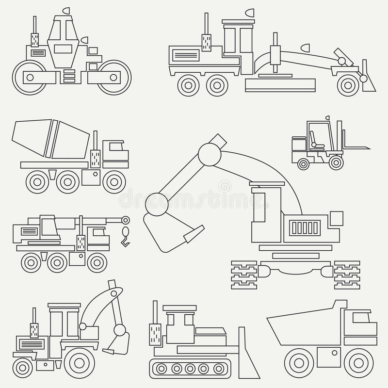 Line flat vector icon construction machinery set with bulldozer, crane, truck, excavator, forklift, cement mixer. Tractor, roller, grader Industrial style stock illustration