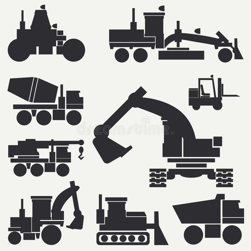 Free Line Flat Vector Icon Construction Machinery Set With Bulldozer, Crane, Truck, Excavator, Forklift, Cement Mixer Stock Photography - 94031552