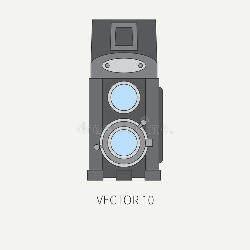 Line flat vector icon with retro analog film cameras. Photography and art. Reflex 35mm photocamera. Cartoon style stock illustration