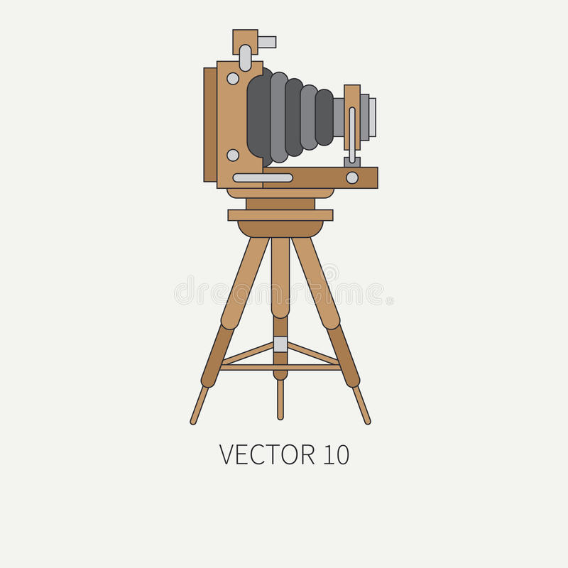 Line flat vector icon with retro analog film cameras. Photography and art. Reflex 35mm photocamera. Cartoon style vector illustration