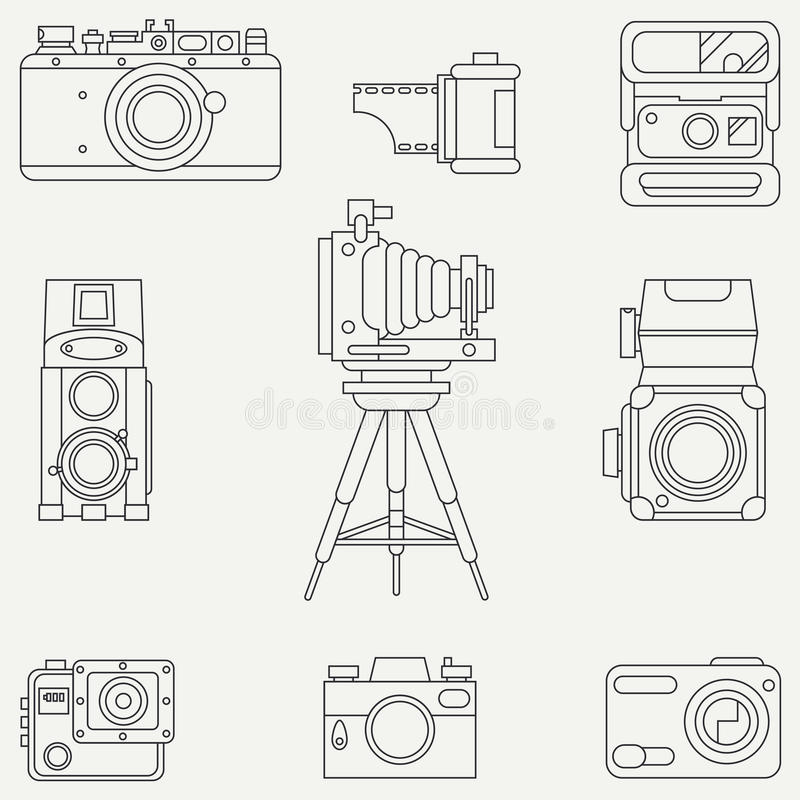 Line flat vector icon set with retro analog film cameras. Photography and art. Reflex 35mm photocamera. Cartoon style royalty free illustration