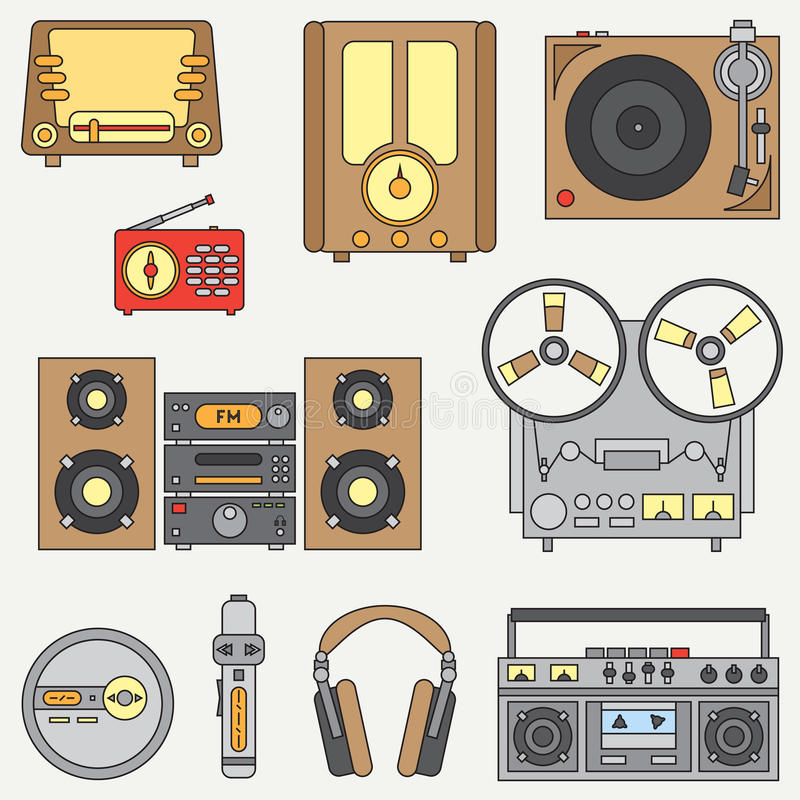 Line flat vector icon set with retro electrical audio devices. Analog broadcast. Music fan. Cartoon style. Nostalgia royalty free illustration