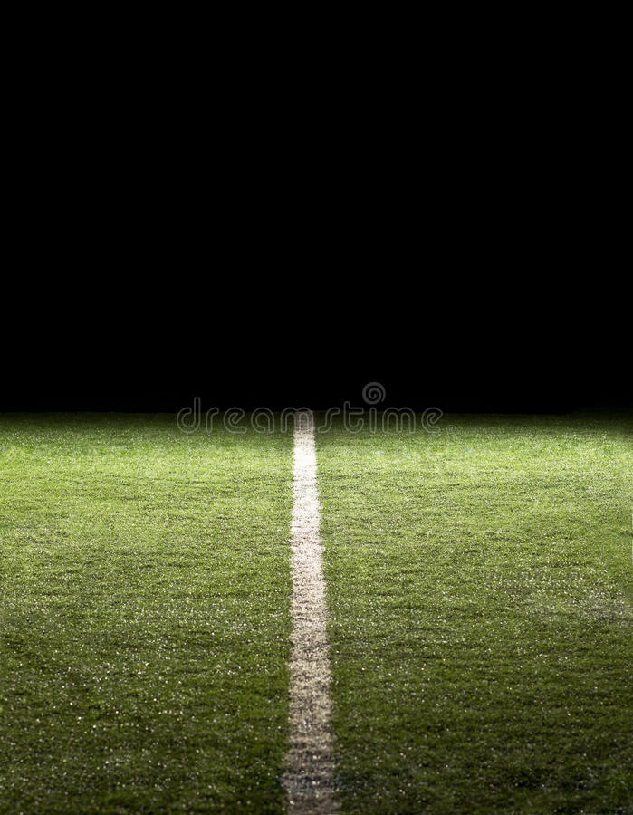 Download Line On A Football Field At Night Stock Photo - Image: 19552962