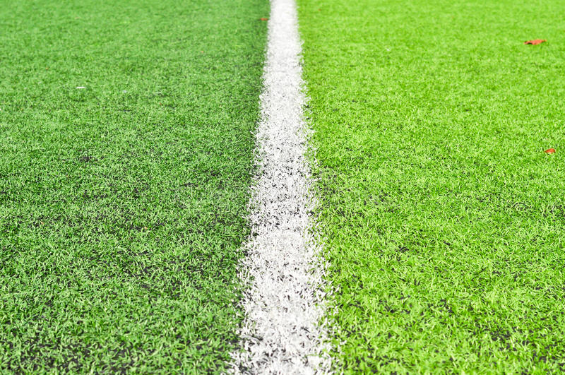 Line at football fields stock photo