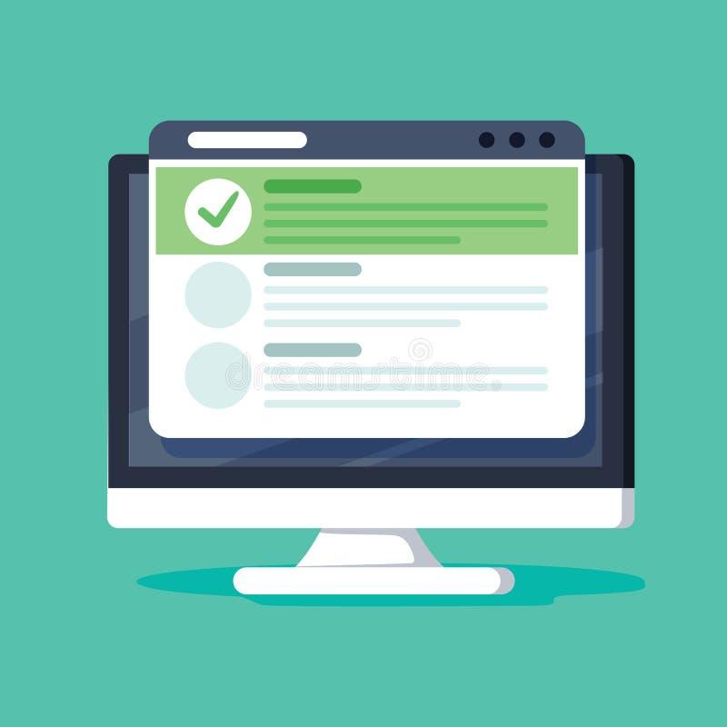 On-line-Formübersicht, Monitor mit dem Zeigen der langen Quizprüfungspapierblatt-Dokumentenikone, on-line-Fragebogen resultiert lizenzfreie abbildung