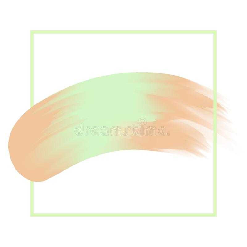 Line frame and brush painted green and brown watercolor background pastel soft, art paint brush texture green acrylic stroke vector illustration