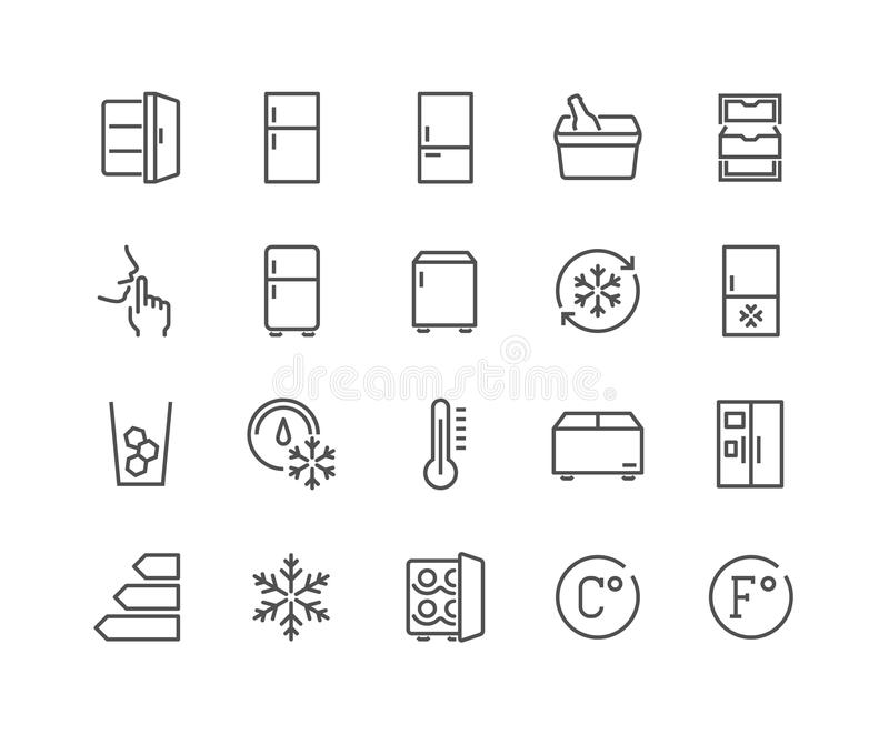 Line Fridge Icons. Simple Set of Fridge Related Vector Line Icons. Contains such Icons as Portable Fridge, Ice Machine, Silence and more. Editable Stroke. 48x48 royalty free illustration