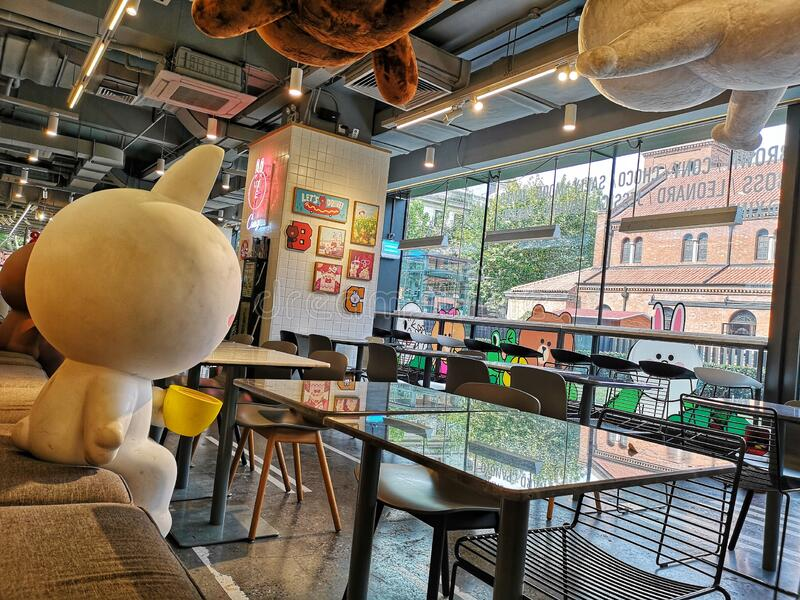 Line friends Pop Culture cafe in Shanghai city, China royalty free stock photo