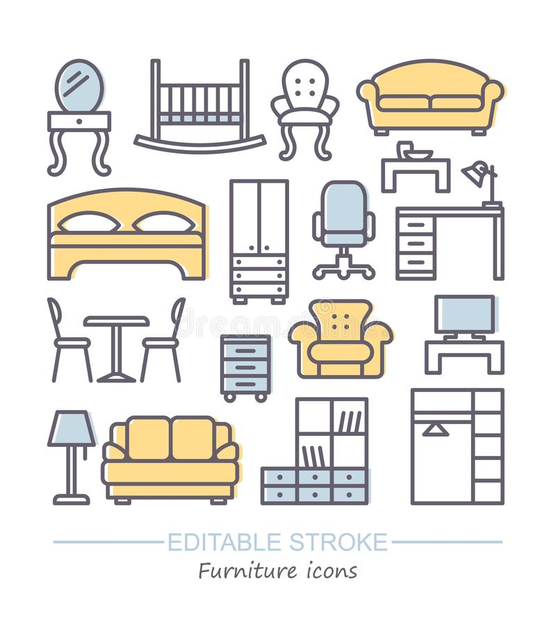 Line furniture icons set. Vector illustration with editable stroke royalty free illustration