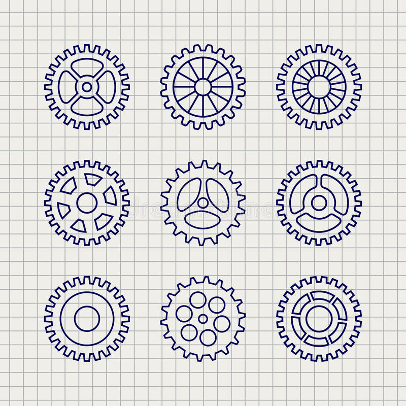 Line gears icon set sketch. Line gears icon set on notebook background. Vector illustration royalty free illustration
