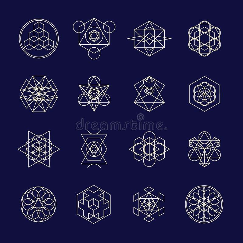 Line geometric design symbols and elements. stock illustration