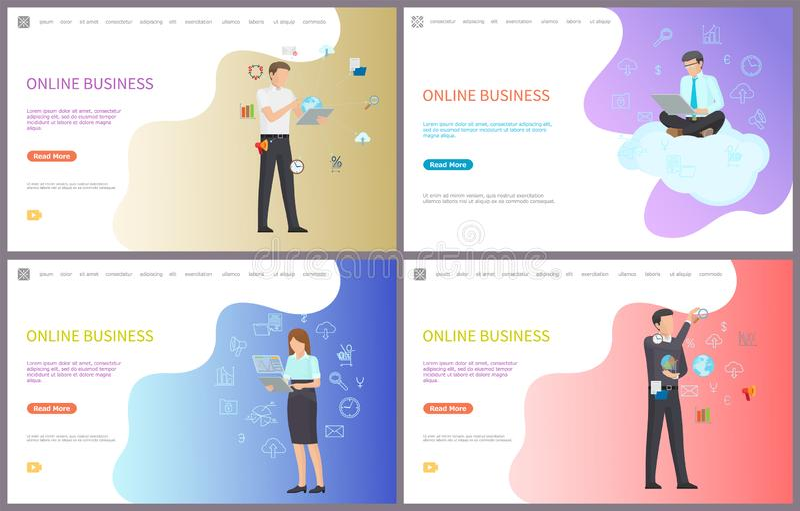 On-line-Geschäfts-Interaktion mit Digital-Welt lizenzfreie abbildung