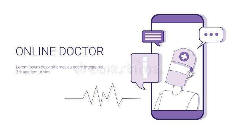 On-line-Geschäfts-Konzept-Schablonen-Netz-Fahne Doktor-Healthcare Mobile Application mit Kopien-Raum stock abbildung